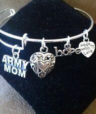 Expandable Silver Colored Handmade Bangle Charm Bracelet ARMY MOM/ MILITARY