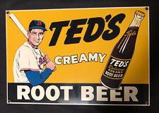 ANDE ROONEY BOSTON RED SOX TED WILLIAMS CREAMY ROOT BEER METAL PORCELAIN SIGN
