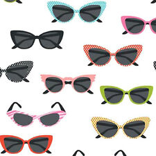 Riley Blake GLASSES Novelty 50s Sunglasses Fabric - White