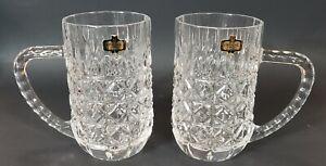 Zajecar 24% Lead Crystal Yugoslavia 1 Set of 2 Mugs Steins Fan Diamond Pattern
