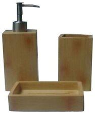 3 Piece Plastic Bamboo Effect Toothpaste Holder Soap Liquid Soap Dispenser