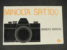 Minolta Sr-T 100 Camera Manual / Instruction Book / User Guide