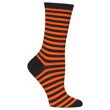HOT SOX Halloween Stripe Crew Socks Orange Black Striped Women's Size 9-11