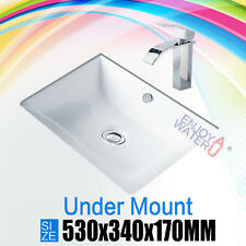 Bathroom ceramic Gloss white rectangular Basin  under mount vanity sink