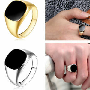 Men's Stainless Steel Ring Band Solid Alloy Biker Signet Ring Black Silver 7-12