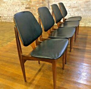 4 X Elliots Of Newbury Dining Chairs Vinyl Teak Retro Vintage Mid Century