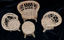 Vintage Wicker Rattan doll Furniture Set 2 Chairs, Loveseat & table