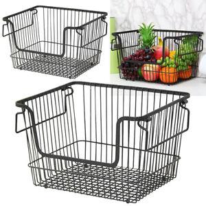 Metal Wire Vegetable Fruit Storage Kitchen Bathroom Organiser Launtry Basket UK