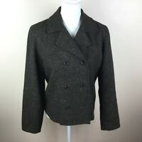 Old Navy Womens Size Medium Brown Tweed Double Breasted Button Jacket Blazer