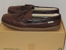 L L Bean Brown Leather Faux Shearling Hand Sewn Slippers sz 9 NIB