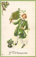 D44/ St Patrick's Day Holiday Postcard c1910 Series 209E Dance Flag Top Hat 13