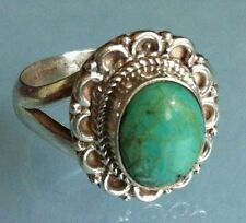 Sterling Silver Traditional Asian Vintage Style Turquoise Stone Ring Size P Gift