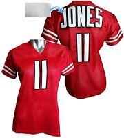 Custom Womens Blinged Football RED Jersey,Julio Jones