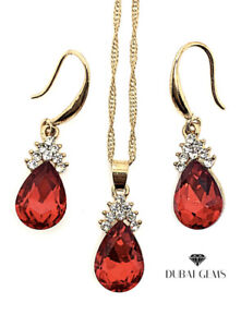 Yellow gold finish pearcut Ruby And created diamond necklace and earrings Set