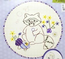 Beginner Stamped Embroidery Applique Raccoon Kit Hoop Included New