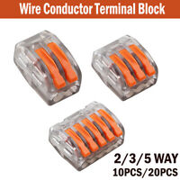 10/20X Electrical Connectors Wire Block Clamp Terminal Cable 12V 240V Reusable