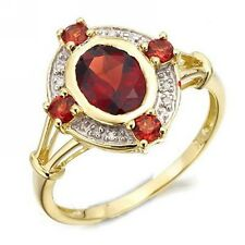 Anniversary Red Garnet Percious Size 8 Gold Filled Women Wedding Engagement Ring