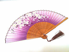 Japanese Bamboo Silk Hand Fan Fandfan Cherry Blossom Flower desig Purple  color