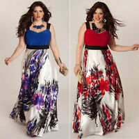 Plus Size Women Floral Printed Long Evening Party Prom Gown Formal Dress L-5XL
