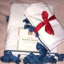 NWT Pottery Barn Teen Blue Tassel Twin Duvet Cover & 2 Standard Sham Bedding Set