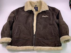 VTG Men's Phat Farm Leather Jacket Brown Beige Tan Winter Coat XX Large 5XL XXL