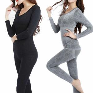 2Pcs Women Thermal Long Sleeve Nightwear Winter Warm Slim Shape Underwear Set UK