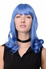 Calidad Peluca Azul Capri Emo Popstar Gótico Flequillo Largo Ondulado GFW1044A