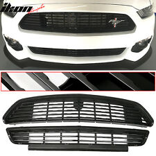 15-17 Ford Mustang GT/CS CA Special Front Upper And Lower Grille Grill Set Black