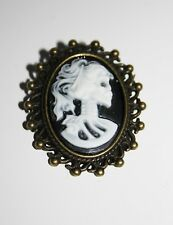 Lady Portrait Victorian Steampunk Gothic Skull Cameo Pin Brooch Bronze Skeleton