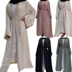 Open Dubai Kimono Abaya Kaftan Women Muslim Long Maxi Dress Islamic Jilbab Gown