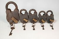 Vintage Cast Iron Padlock Collection Handmade Heavy W/ Keys All Working