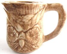 Ceramic Owl Face Hand Painted Mugs Have a Nice Day Inscribed Retro Vintage