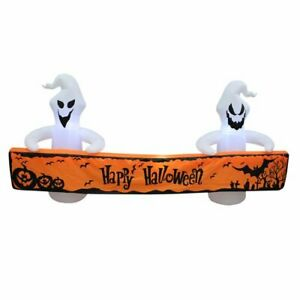 Large Ghost & Happy Halloween Banner Inflatable LED Light Up Yard Decor NEW