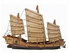 Cardboard model kit. The medieval town. Chinese ship. Junk. Wargame landscape