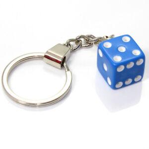 3D Blue Dice Key Chain Ring Fob - for house, home, car, truck, bike keys
