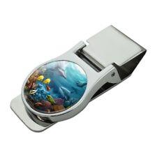 Coral Reef Ocean Scene Dolphin Turtle Shark Fish Satin Chrome Metal Money Clip