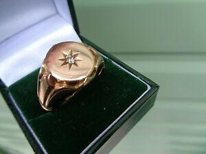 LARGE HEAVY 9ct Rose Gold Diamond Retro Signet Ring h/m 1913 - size z+1 / z+2