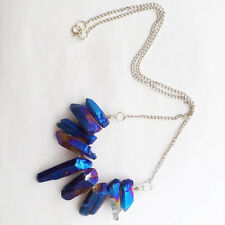 9pcs Titanium Crystal Agate Druzy Quartz Geode Stone necklace 17.5 inch B0029661