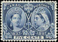 1897 Used Canada 5c F-VF Scott #54 Diamond Jubilee Stamp