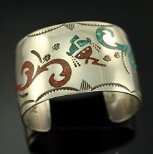 Navajo Begay Bee-Gay Coral Turquoise Inlay Cuff Sterling Silver Bracelet Kachina