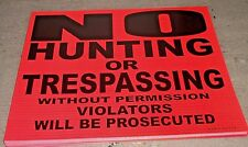 """50 Pack  8"""" x 7"""" No Hunting or Trespassing Without Permission Violators Signs"""