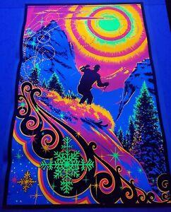 Vintage 1970s SUNRISE SKIER Psychedelic Blacklight Poster AA Sales