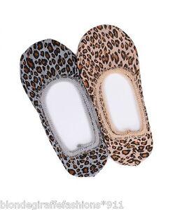 Ladies-OS-Regular Leopard No Show Ballet/Slipper Low Liner Socks #2L