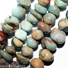 AQUA TERRA JASPER BEADS NUGGET BEAD (10mmx13mm) MEDIUM SIZE FREE FORM  NUGGETS