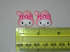 2 Pcs My Melody Hello Kitty  Resin Flatback Scrapbooking Hair Bow Crafts