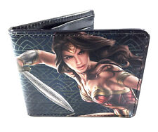 DC COMICS WONDER WOMAN MOVIE SWORD ACTION POSE PU FAUX LEATHER BIFOLD WALLET NWT