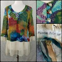 Victorian Tailor Silk Tunic OS XS Small Medium art to wear Up-Cycle lace boho