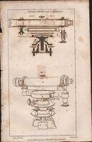 1808 Antico Stampa ~ Spirit Level Ramsden ~ Diagrammi Sezione