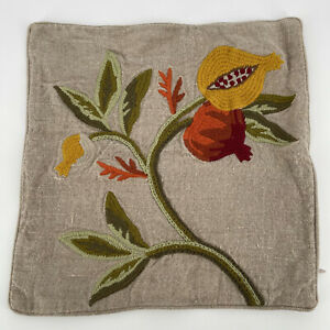 """WILLIAMS SONOMA HOME 100% Heavy Linen Embroidered Floral 15"""" Pillow Cover Decor"""