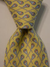 VINEYARD VINES Martha's Boys Youth 100% Silk Necktie Luxury LACROSSE Yellow EUC